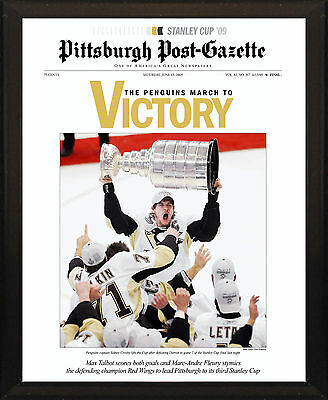 Pittsburgh Penguins 2009 Stanley Cup Champs 8X10 Plaque Post Gazette Front Page