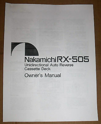Nakamichi RX-505 Unidirectional Auto Reserve Cassette Deck Owner's Manual (Copy) for sale  Oklahoma City