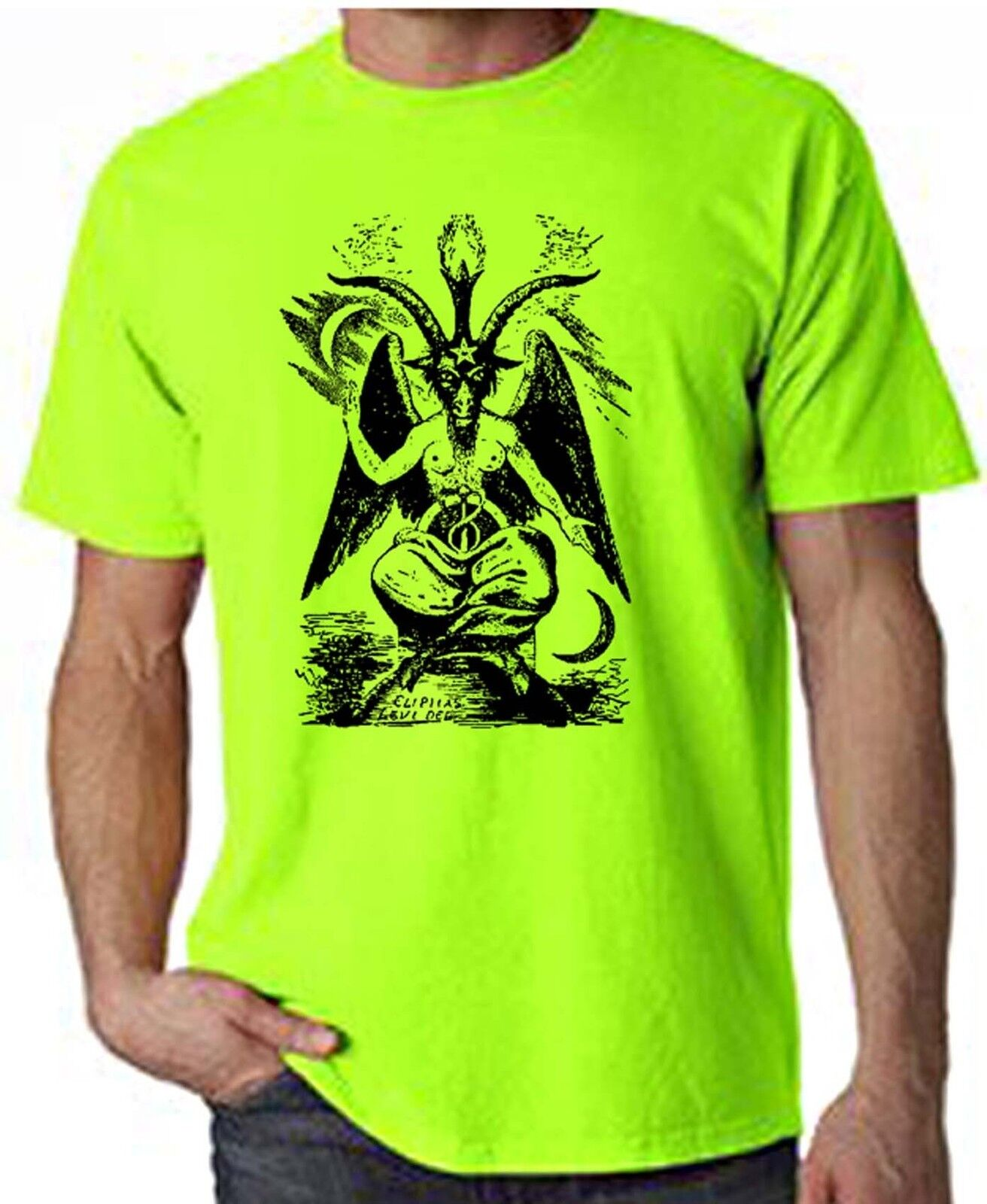 Pagan Druid Wicca Witchcraft Satanic GOAT OF MENDES NEON T-SHIRT FREE P/&P
