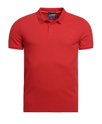 New Mens Superdry Embossed S/S Polo Yacht Club Red
