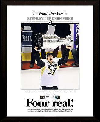 Pittsburgh Penguins 2016 Stanley Cup Champs 8X10 Plaque Post Gazette Front Page