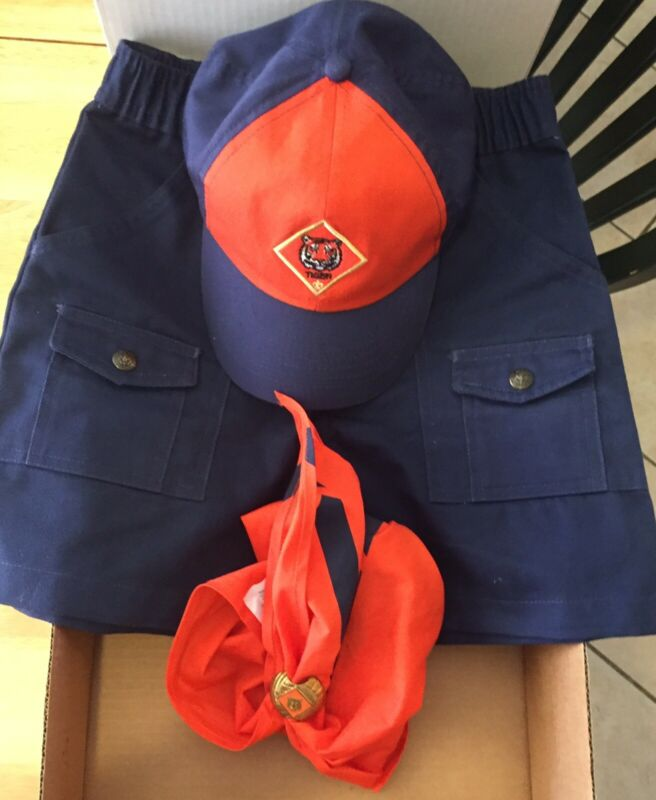 """Cub Scout Tiger Lot Uniform Shorts 23"""" Size 10, Hat, Kerchief, Kerchief Slide"""