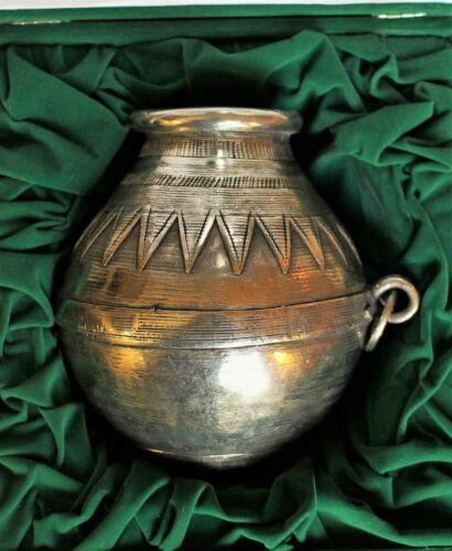 Boxed Middle Eastern or North African Cast & Tooled Pot with Islamic Inscription