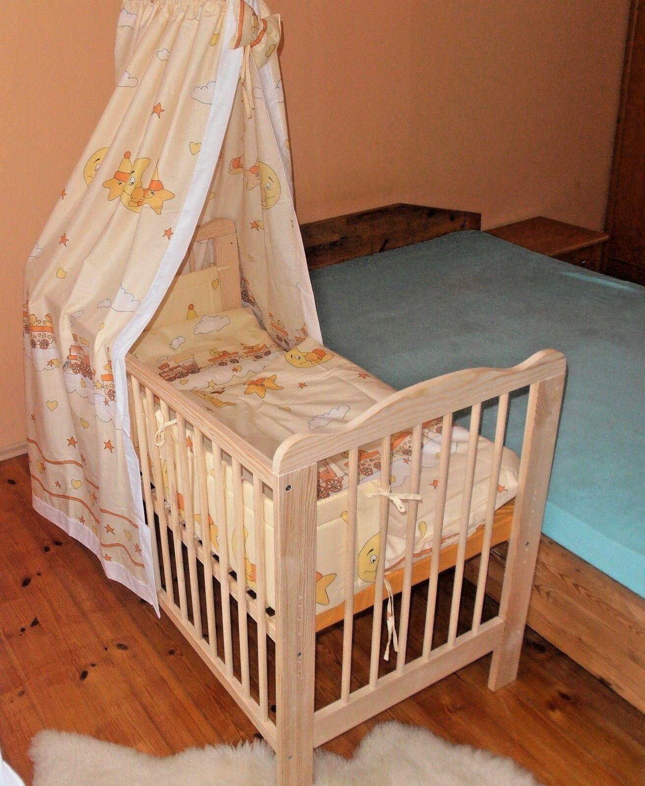 Beistellbett Komplett Set Babybett Komplett Set Gitterbett 5 Farben  Massivholz