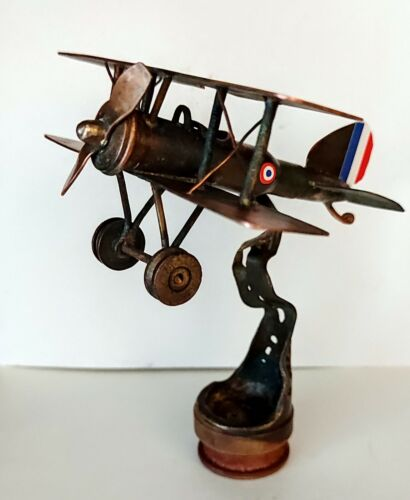 WW1 French Biplane Trench Art modern Hand made from ww1 authentic items