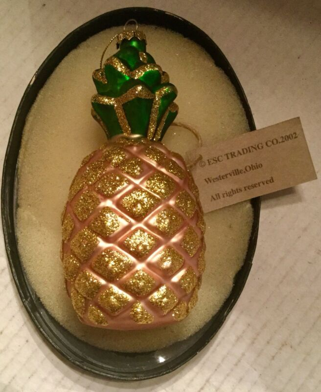 Beautiful 2002  Glitter Pineapple Christmas Ornament By David ESC Trading