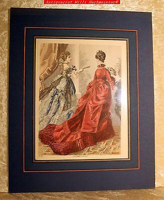 """MODE -""""Jahreszeit-Illustr.Journal der Damen"""" Blatt 208-Altkolorierter Stich 1874"""