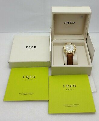 Fred of Paris Chronograph R13-160 750 18kt Yellow Gold Diamond Bezel 40mm Rare! 18kt Yellow Gold Diamond Bezel