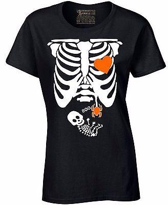 Pregnant Xray Skeleton Baby Ladies T-shirt Boo Pumpkin Halloween - Halloween Skeleton Baby Shirt