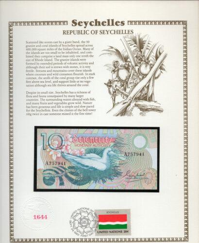 Seychelles 1979 10 Rupees P23a UNC w/FDI UN FLAG STAMP Prefix A