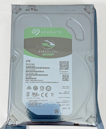 Seagate Barracuda 4TB Internal SATA Hard Drive for Desktops Silver ST4000DM005SP