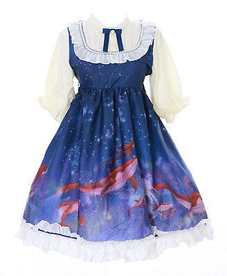 JSK-27 Big Fish & Begonia Blau Meer Fisch Pastel Goth Lolita Kleid - Gothic Baby Doll Kostüm