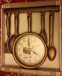 Rare Fat Chef Kitchen Wall Clock, approx 13 x 13, Chef with Tray, gold color