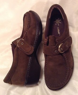 ARRAY Brown Suede Leather Buckle Hook-Loop Strap Moccasin Loafers-Womens 11M-NEW
