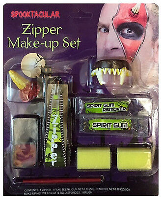 FANCY DRESS MAKE UP FACE PAINT ZIPPER KIT DEVIL HALLOWEEN FANG TEETH ZIP - Make Zipper Face Halloween