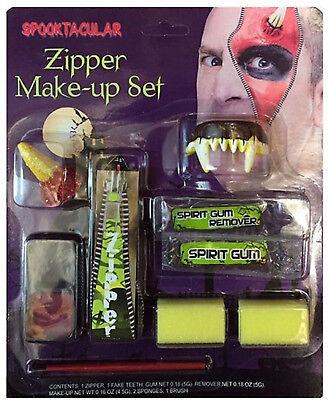 FANCY DRESS MAKE UP FACE PAINT ZIPPER KIT DEVIL HALLOWEEN FANG TEETH ZIP HORNS](Halloween Face Zip Kit)