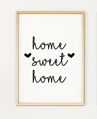 Home Sweet Home Typography A4 Print Poster PO306