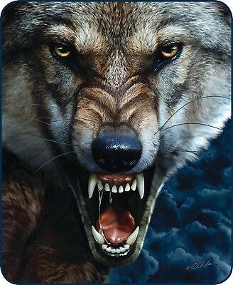Queen Big Bad Wolf Scary Snarl Halloween Mink Faux Fur Blanket Warm Soft Full](Big Bad Wolf Halloween)