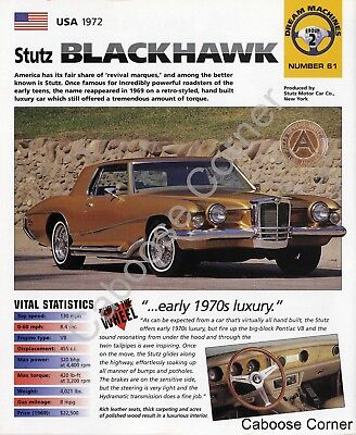 Stutz Blackhawk IMP Brochure Specs USA 1972 Group 2, No 61 ()
