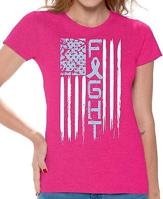 Prostate Cancer Fight T shirts Shirts Top for Women USA Womens Light Blue Ribbon Cancer Womens Light T-shirt