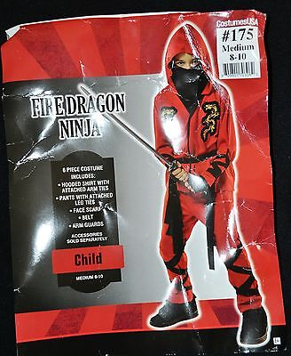 Fire Dragon Ninja Costume (Fire Dragon Ninja BOYS Costume Size Medium)