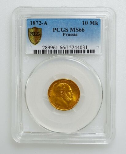 PCGS MS66 1872-A Germany Prussia 10 Mark Gold Coin K10036