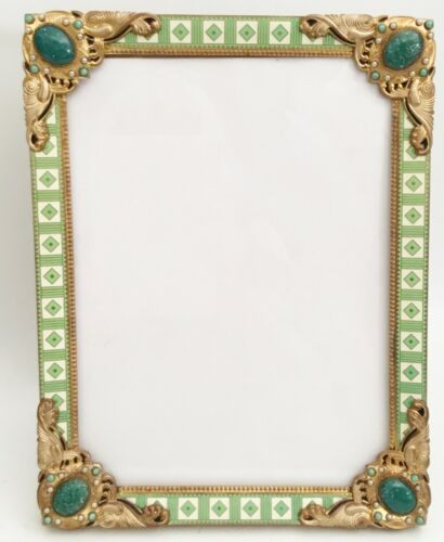 Austrian Jeweled Easel Back Frame ~Magnificent Pearls and Giant Gems