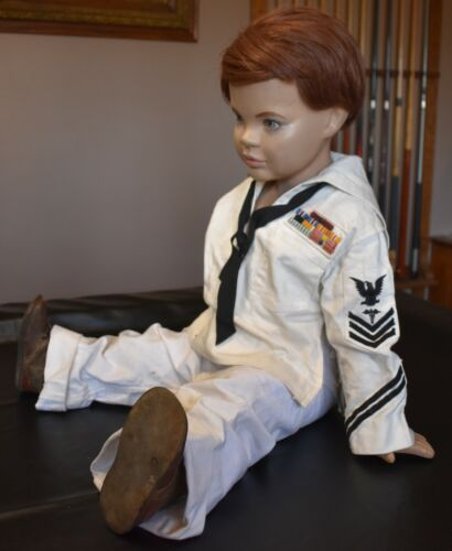 vintage boy mannequin store display...with sailers outfit & antique shoes