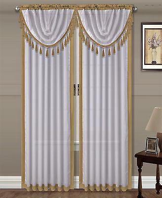 Gold Curtain Pole - GOLD 1PC Faux Silk 2 Tone Luxury Elegant Rod Pocket Window Curtain Drape 84