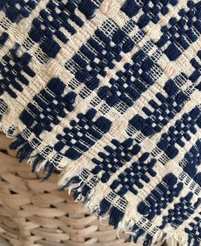 Antique Primitive 19thc Loom Woven Indigo Blue Cream Wool Linen Coverlet Pc. -