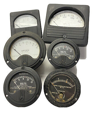 6 Antique Vintage Weston Westinghouse Panel Mount Volt Meter Steampunk Project