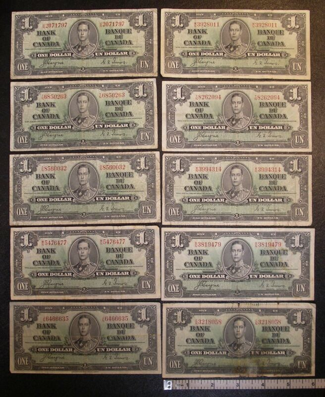 Lot of TEN banknotes 1937 Bank of Canada $1 COTNE-TOWERS P-58e