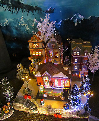 Christmas Curved Corner Snow Village Display platform base Dept 56 Lemax Dickens