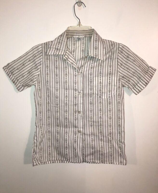 Vtg Brownies Girl Scouts Uniform Short Sleeve Top Shirt Button Size 10 Blouse