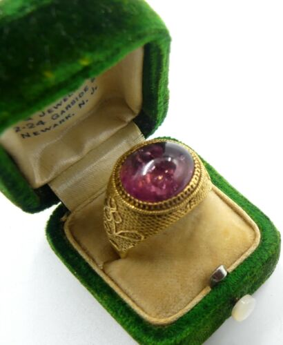Antique Chinese adjustable silver vermeil & tourmaline cabochon ring