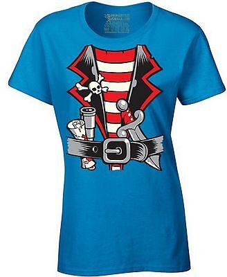 PIRATE HALLOWEEN COSTUME Ladies T-shirt Happy Halloween Gift Pirate Party Shirt