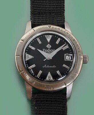 """Vintage 1960's Zodiac """"SeaWolf"""" Automatic Military Divers Watch Hacking System"""