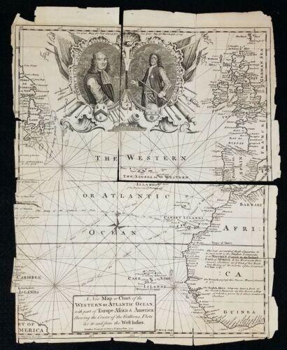 Antique Original 1740 Map Atlantic Slave Trade with West Indies EMANUEL BOWEN