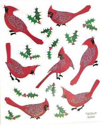Cardinal Birds Glitter Accent Christmas Holly Berry PC Clear Stickers Clear Glitter Stickers