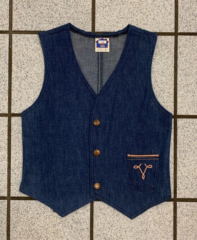 Vintage Girls Denim Vest Blue Jean Western Cowboy WRANGLER 1970s Hippy Sz 10
