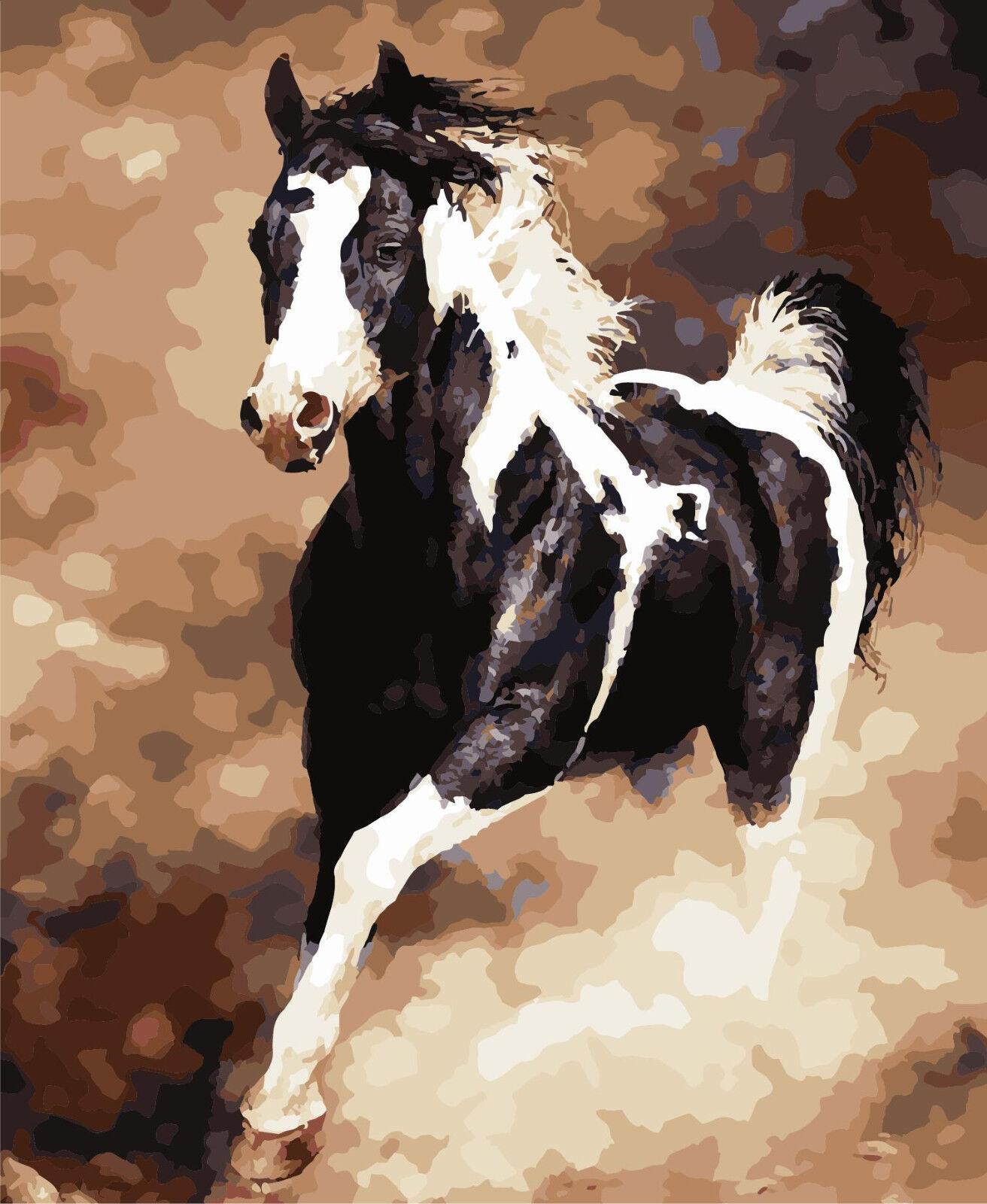 Das Pferd laufen 40x50cm Malen Zahlen DIY Malerei Zimmer Dekor Rahmenlos 637