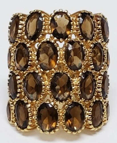 Huge Vintage 4 Row Brown Topaz Glass Gold Plated Statement Ring Size 8.5