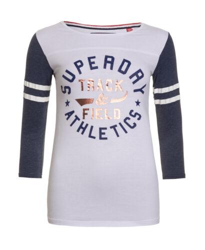Neues Damen Superdry Trackster Baseball T Weiß