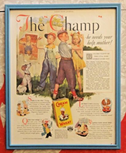 "VINTAGE 1937 FRAMED LITHOGRAPH ADVERTISEMENT - CREAM OF WHEAT - ""THE CHAMP"""