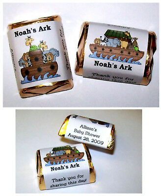 60 NOAH'S ARK BABY SHOWER PARTY FAVORS CANDY WRAPPERS LABELS - Noah's Ark Baby Shower
