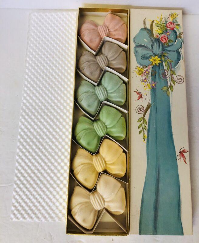 Vtg Avon Pastel Bow Soaps Original Box Pink Blue Green Set Of 6 NEW OLD STOCK