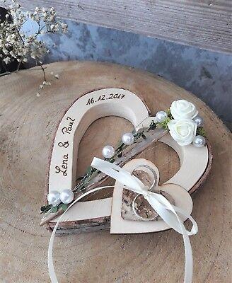 Ringkissen Herz Holzherz creme Ringhalter für Eheringe mit Namen Hochzeit