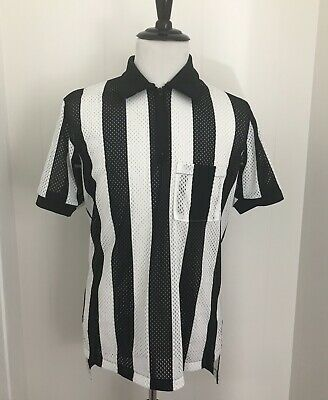 Black And White Striped Shirt Halloween Costume (HALLOWEEN Costume Men's Size Large Black & White Sport Referee Ref Shirt U)