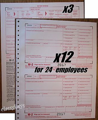 2017 Irs Tax Forms W 2 Wage Stmt Carbonless 12 Sets For 24 Employees   3 Form W3