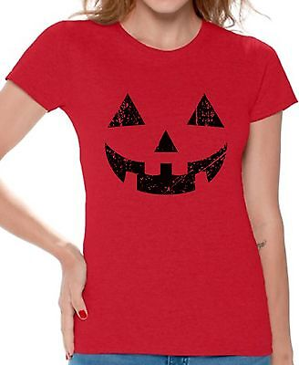 Women's Jack O' Halloween Pumpkin T shirts Shirts Top for Women Easy Costume (Halloween Costumes Easy For Adults)